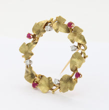 Load image into Gallery viewer, Vintage 18K Gold Ruby and Diamond Ivy Wreath Circle Brooch Pin