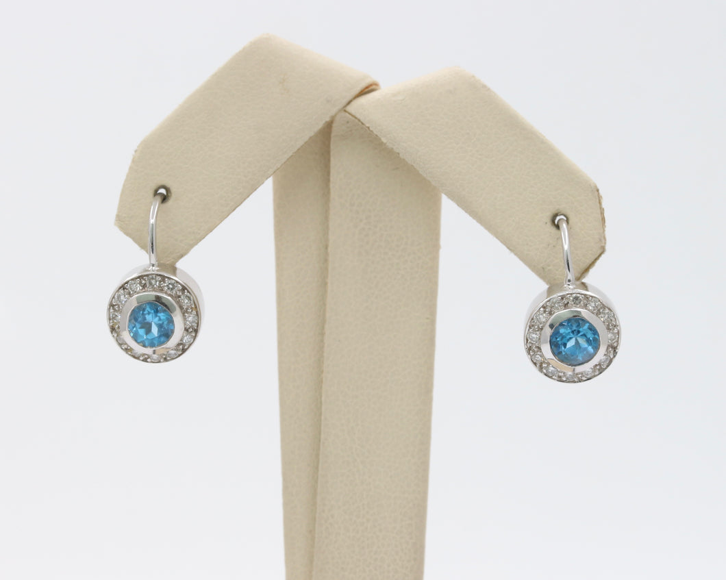 Swiss Blue Topaz Diamond Halo 18K Gold Leverback Earring