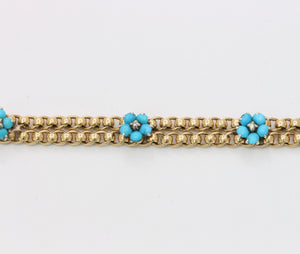Antique Turquoise and Diamond Forget Me Not Flower 14K Gold Bracelet