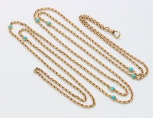 Load image into Gallery viewer, Victorian 14K Gold and Turquoise 53 Inch Long Guard Chain Necklace