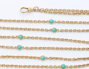 Victorian 14K Gold and Turquoise 53 Inch Long Guard Chain Necklace