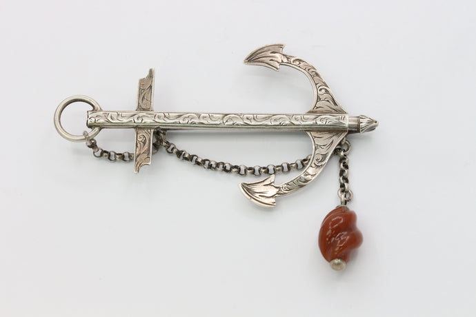 Victorian Sterling Silver and Agate Drop Circa 1848 Anchor Brooch