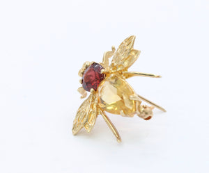 Vintage 14K Gold Citrine and Garnet Bumble Bee Pendant Pin
