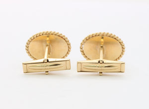 Vintage 14K Gold and Green Jadeite Jade Cufflinks