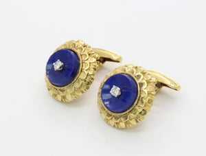 Vintage La Triomphe 18K Gold Diamond and Lapis Lazuli Cufflinks