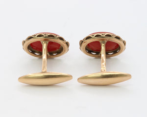 Vintage 18K Gold and Natural Oxblood Coral Cufflinks