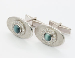 Vintage 14K White Gold Cat's Eye and Diamond Cufflinks