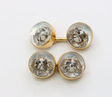 Load image into Gallery viewer, Late Victorian Essex Crystal Reverse Crystal Intaglio 14K Gold Dog Cufflinks