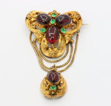 Load image into Gallery viewer, Large Victorian Garnet Carbuncle and Emerald Paste 19K Gold Dangle Brooch