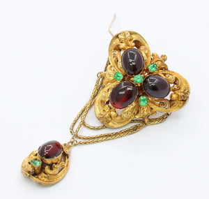 Large Victorian Garnet Carbuncle and Emerald Paste 19K Gold Dangle Brooch