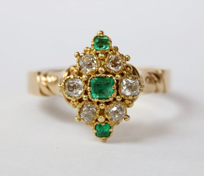 Victorian Emerald and Diamond Cluster 18K Gold Navette Ring
