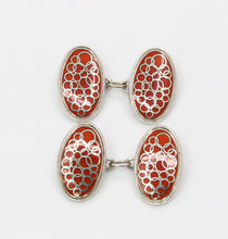 Load image into Gallery viewer, Vintage English 9K White Gold and Red Enamel Cufflinks
