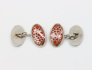 Vintage English 9K White Gold and Red Enamel Cufflinks
