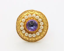 Load image into Gallery viewer, Victorian Etruscan Revival Foiled Quartz 14K Gold Brooch Pendant