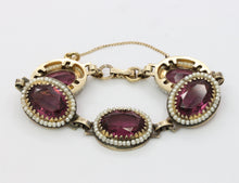 Load image into Gallery viewer, Vintage Danecraft Vermeil Sterling Silver Amethyst Paste and Bead Bracelet