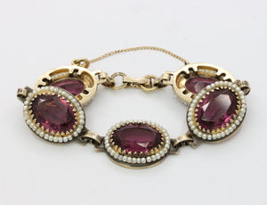 Vintage Danecraft Vermeil Sterling Silver Amethyst Paste and Bead Bracelet