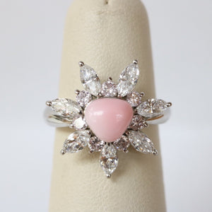 Vintage Natural Conch Pearl, Pink and White Diamond Platinum Cluster Ring