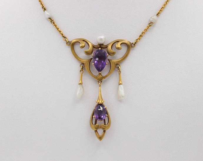 Art Nouveau 18K Gold Amethyst and Pearl Drop Antique Necklace - alpha-omega-jewelry