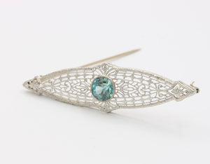 Art Deco 14K Gold and Blue Zircon Filigree Bar Pin