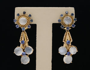 Vintage Cat's Eye Moonstone and Sapphire 14K Gold Drop Earrings - alpha-omega-jewelry