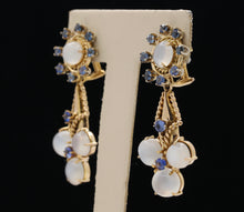Load image into Gallery viewer, Vintage Cat's Eye Moonstone and Sapphire 14K Gold Drop Earrings - alpha-omega-jewelry