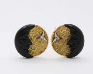 Vintage 18K Gold Carved Man in the Moon and Diamond Italian Clip Earrings - alpha-omega-jewelry
