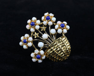 Vintage Opal and Lapis 18K Gold Flower Basket Italian Brooch Pin