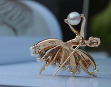 Load image into Gallery viewer, Vintage 14K Gold, Diamond Pearl and Gemstone Ballerina Dancer Brooch Pin