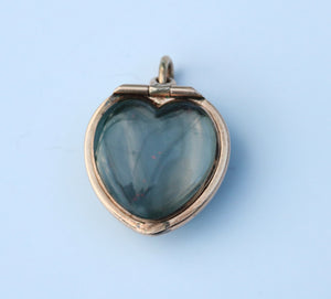 Victorian 14K Gold Chubby Bloodstone Heart Locket Pendant