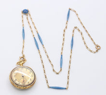 Load image into Gallery viewer, Edwardian Swiss Enamel Diamond and 18K Gold Pocket Watch and Chain - alpha-omega-jewelry