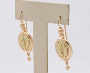 Vintage Russian 14K Gold Leaf High Relief Hanging Drop Earrings - alpha-omega-jewelry