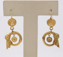 Load image into Gallery viewer, Victorian Etruscan Revival 14K Gold Feather Drop Earrings - alpha-omega-jewelry