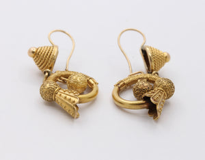 Victorian Etruscan Revival 14K Gold Feather Drop Earrings - alpha-omega-jewelry
