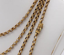 Load image into Gallery viewer, Georgian 14K Solid Gold Textured Link Belcher 57 Inch Long Guard Chain
