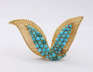 Vintage French 18K Gold and Turquoise Bird Wings Brooch Clip - alpha-omega-jewelry