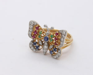 Diamond Ruby Sapphire and Emerald 18K Gold Butterfly Ring - alpha-omega-jewelry