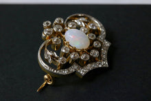 Load image into Gallery viewer, Edwardian Opal and Diamond Platinum 18K Gold Brooch Pin