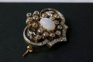 Edwardian Opal and Diamond Platinum 18K Gold Brooch Pin