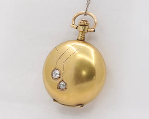 Antique Swiss 14K Gold and Old Cut Diamond Pocket Watch - alpha-omega-jewelry