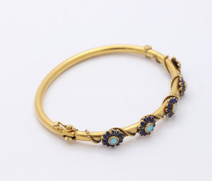 Victorian 14K Gold Opal and Enamel Daisy Bangle Bracelet - alpha-omega-jewelry