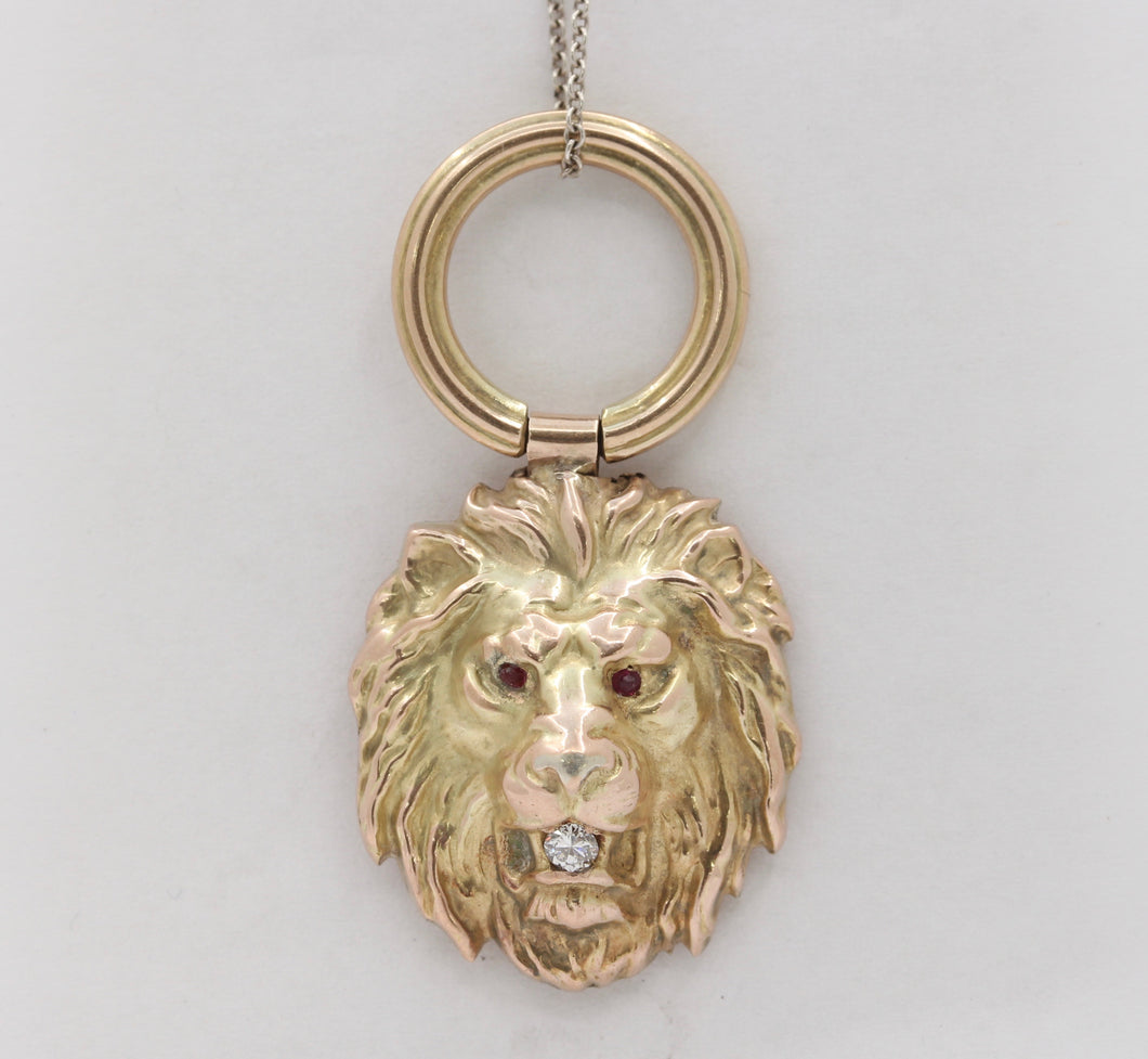 Victorian 14K Gold and Diamond Lion Head Charm Pendant - alpha-omega-jewelry