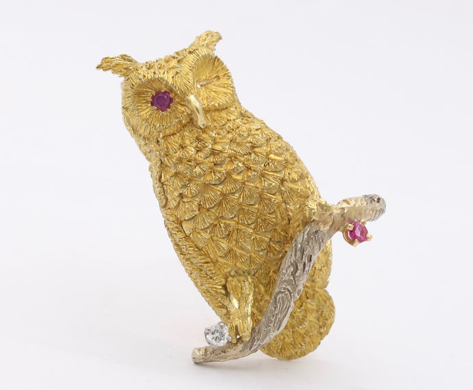 Vintage 18K Gold Diamond and Ruby Owl Pin Brooch - alpha-omega-jewelry