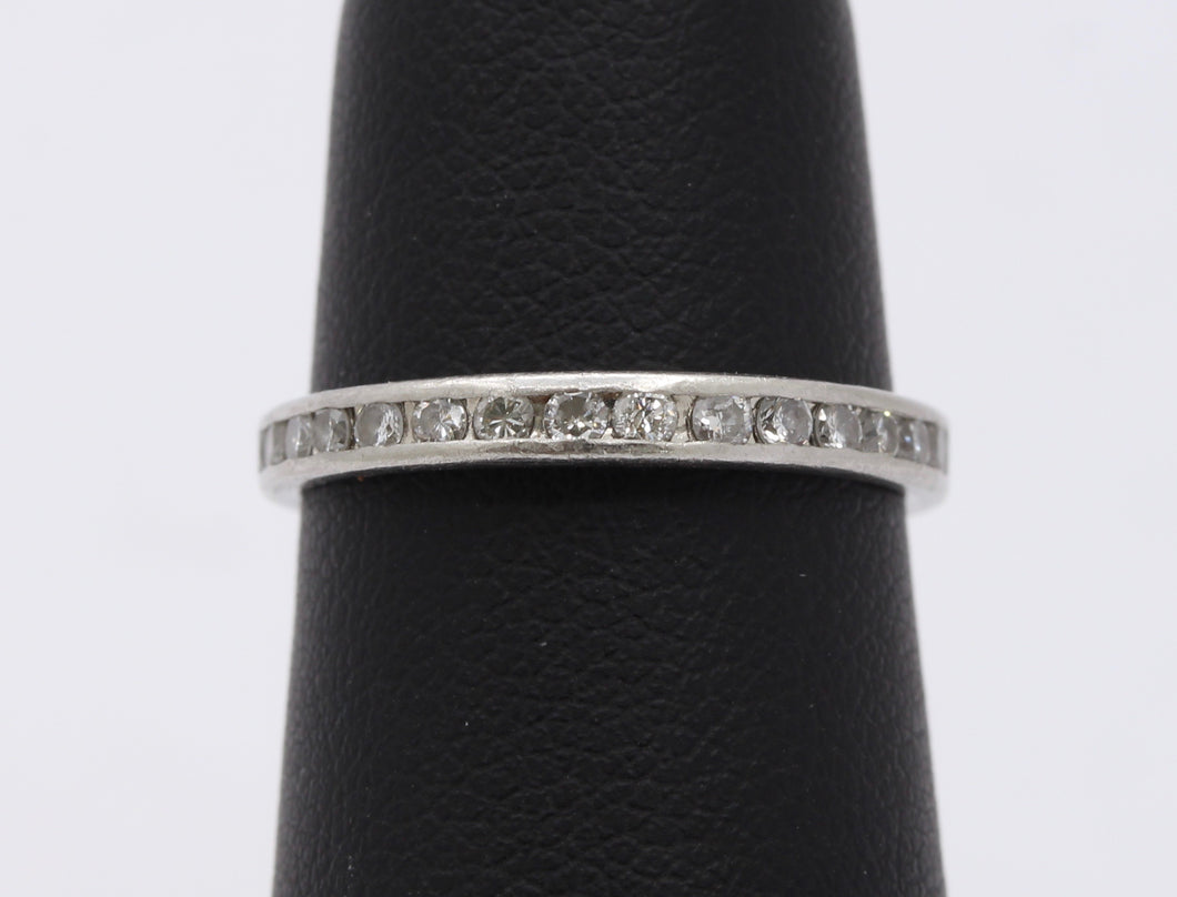 Vintage Platinum and Diamond Eternity Band Stacking Ring