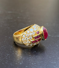 Load image into Gallery viewer, Vintage 1980s Cabochon Ruby and 3.6 Carat Diamond 18K Gold Ring