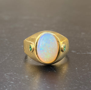 Large Vintage 18K Gold Opal and Emerald Gypsy Signet Ring