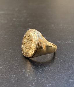 Vintage 10K Gold Turtle Trinity College Signet Ring
