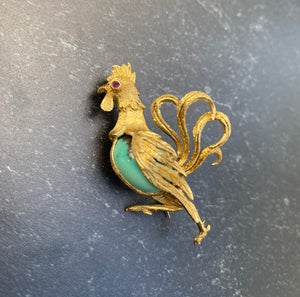 Vintage 18K Gold and Turquoise Rooster Brooch Pin