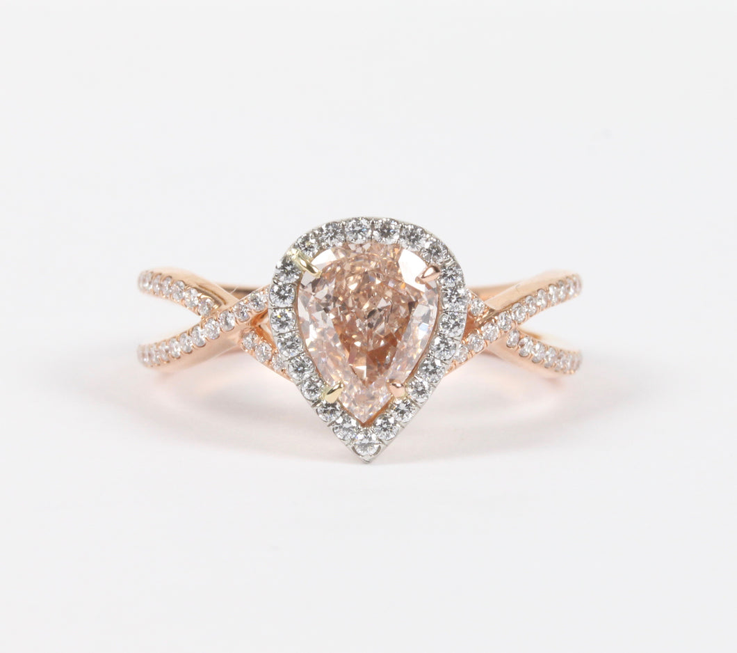 Rare GIA Certified Natural 1 Carat Pink Diamond and 18K Gold Platinum Engagement Ring - alpha-omega-jewelry