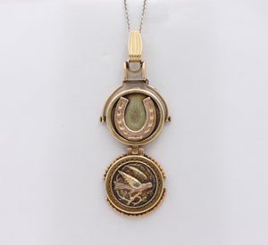 Edwardian 14K Gold Swallow and Horseshoe Reversible Spinning Locket Pendant - alpha-omega-jewelry