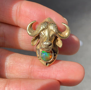 Vintage 14K Gold and Opal Ox Buffalo Brooch Pin - alpha-omega-jewelry